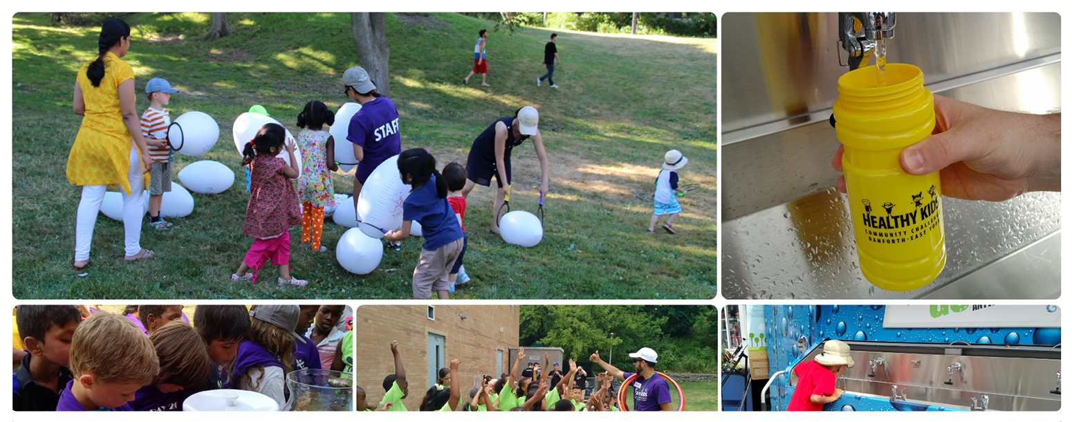Collage of photos from the Healthy Kids Community Challenge