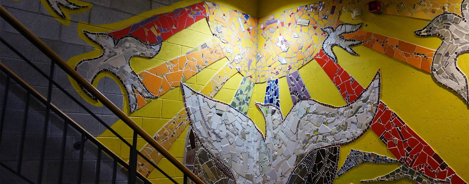 Mosaic mural along the stairwell at SRCHC