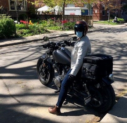 Registered Nurse on her motorcycle